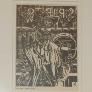 Harry Kernoff 1948 Woodcut, Man with a pint of porter, mounted and framed.