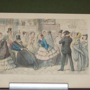 1854 John Leech print Sir Thomas Trout and the bloomer