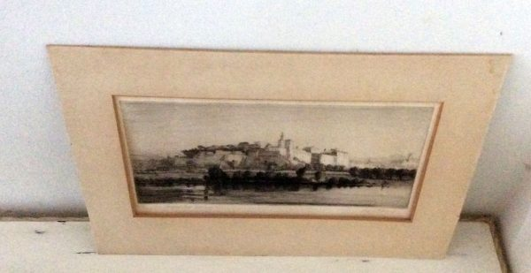 Percy J Westwood Avignon from Villeneuve signed etching for sale