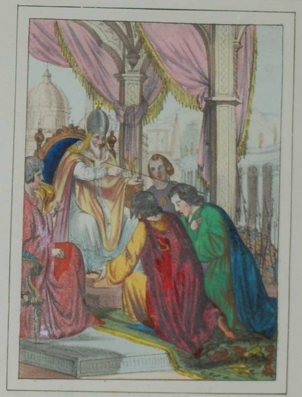"""A fantastic 170 year old print with the colors exceptionally strong for the age. """"Paolo II Introduce in Roma Nel 1468 L'arte Tipografica"""""""