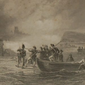 "An 1854 steel engraving titled ""The Landing of the French in Bantry Bay"""