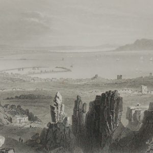 1860 Engraving Dublin Bay from Kingstown Quarries
