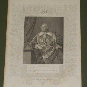1854 steel engraving John Russell, 4th Duke of Bedford