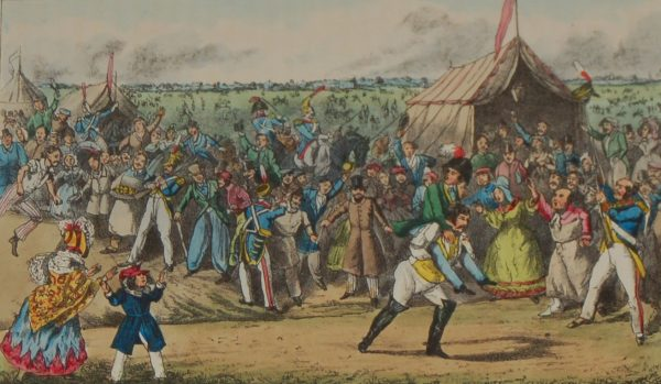 Henry Alken 1874 Print, mounted, 1874 Henry Alken Hand Coloured Print Mr Jorrocks Beats The Baron For Speed