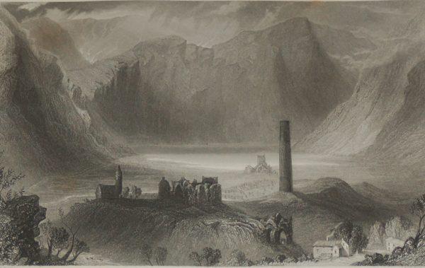 1860 Engraving Geldalough, County Wicklow after William Bartlett.