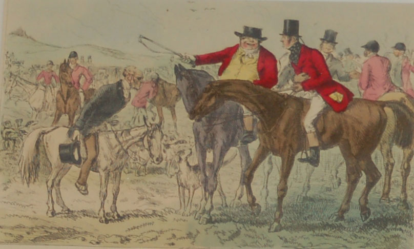 John Leech Illustrations Hand coloured 1854 original comic print from Handley Cross The Pomponous Ego Day 1st edition print.