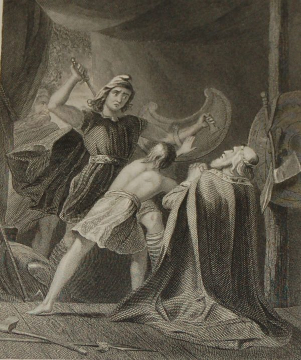 1854 steel engraving The Death of Brian Boru