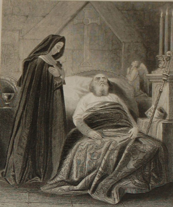 1854 steel engraving The Death of St Patrick, engraved by John Rogers.