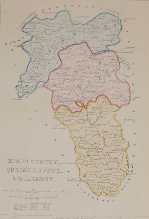 Antique Map Laois, Offaly & Kilkenny circa 1841