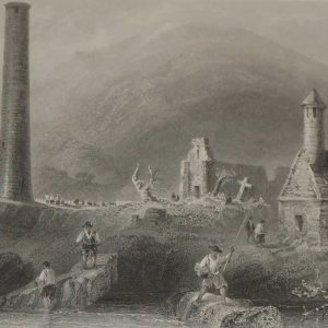 Antique print 1871, Glendalough, Ireland