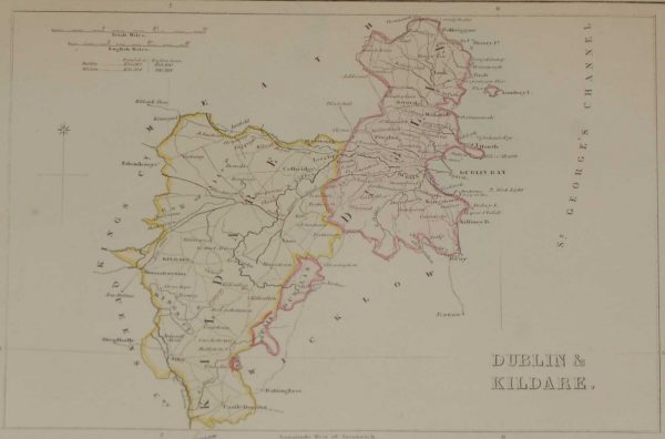antique map dublin kildare 1881