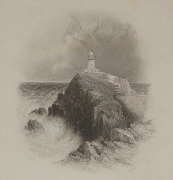 Light House at Howth 1837 Antique Print
