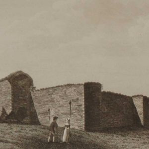 A 1797 antique copper plate engraving of Ballymoon Castle in County Carlow, a castle dating back from circa 1290 near Muine Bheag.