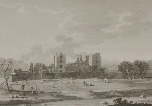 A 1797 antique print, a copper plate engraving of Burncourt Castle in County Tipperary. Burncourt Castle was completed circa 1640.
