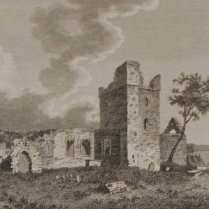 1797 antique print, a copper plate engraving of Selkser Abbey in County Wexford. Selkser Abbey is a 12th century Abbey and Augistinian House in Wexford.