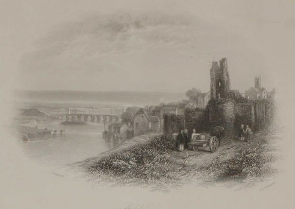 An antique steel engraving of Arklow in county Wicklow, Ireland. The print dates from 1837 and was published by Longman and Co in London.