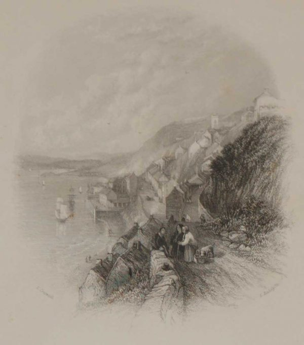 An antique steel engraving of Cove near Cork, Ireland. The print dates from 1837 and was published by Longman and Co in London.