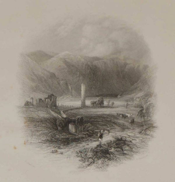 An antique print a steel engraving of Glendalough in County Wicklow, Ireland. The print dates from 1837 and was published by Longman and Co in London.