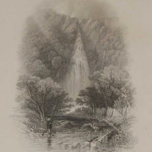 An antique print a steel engraving of Powerscourt Waterfall in County Wicklow. The print dates from 1837 and was published by Longman and Co in London.