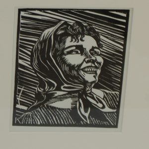 Harry Kernoff Woodcut portrait of a lady 1948