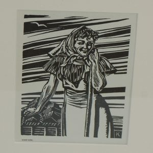 1948 Woodcut Harry Kernoff Turf Girl