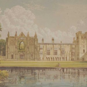 Antique colour print from 1880 of Newstead Abbey in Nottinghamshire, England. It is the ancestral home of Lord Byron.