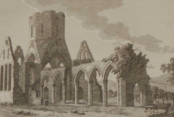 1797 Antique Print a copper plate engraving of Tristernagh Abbey in County Meath, Ireland.