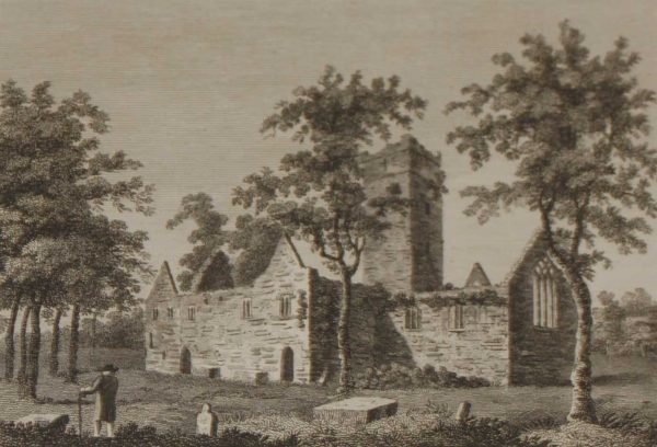 1797 Antique Print a copper plate engraving of Muckross Abbey in County Kerry, Ireland.It was founded in 1448 as a Franciscan friary.