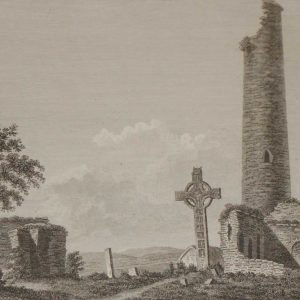 1797 Antique Print of Monasterboise Church and Tower in County Louth, Ireland. Monasterboise Church is an early Christian settlement from the 5th century.