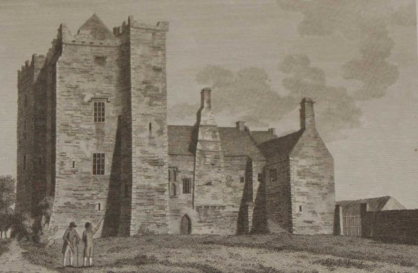 1797 Antique Print of the North East view of Athcarne Castle in County Louth, Ireland. Athcarne Castle is from the Elizabethan period and is outside Duleek.