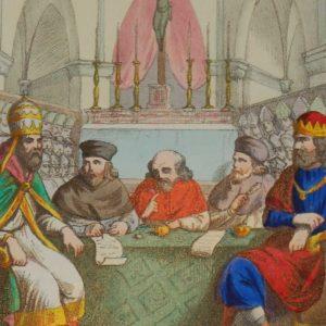 """170 year old antique print with the colours exceptionally strong for the age.""""Eugenio IV Nel Congilio di Firenze Riunisce La Chiesa Greca Con La Chiesa Latina"""