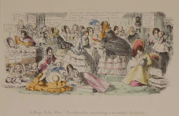 1866 antique print an etching after John Leech, hand coloured titled A Prize Baby Show Matterfamilias rewarding a succesful candidate.