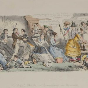 A 1866 antique print an etching after John Leech, hand coloured titled A social Sketch on Everything in Common.