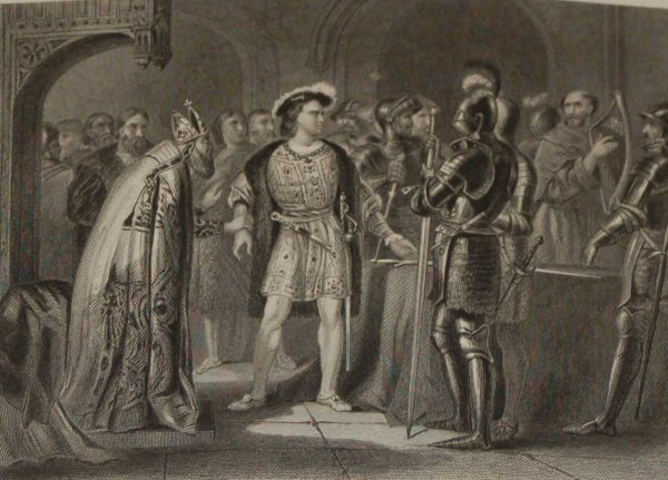 Antique print,1854 steel engraving Lord Thomas Fitz Gerald Renouncing his allegiance to Henry VIII.