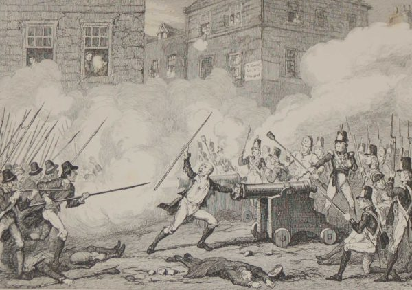 1864 antique print Battle of Ross Come on Boys her mouth stopts