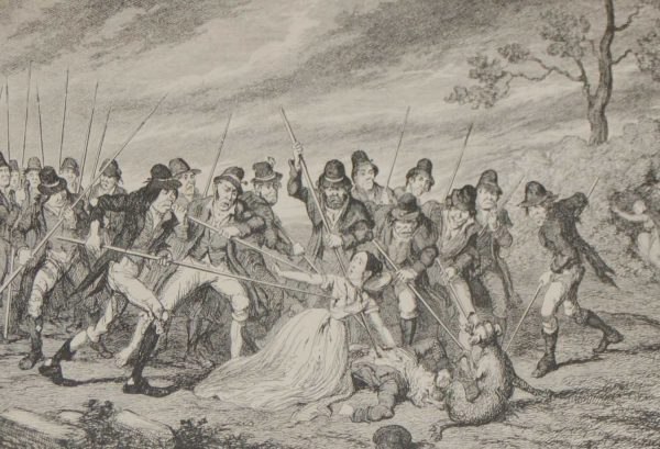1864 antique print Murder of George Crawford and his Granddaughters after George Cruikshank.
