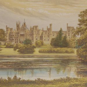 An antique colour print a chromolithograph from 1880 of  Alton Towers in Staffordshire.