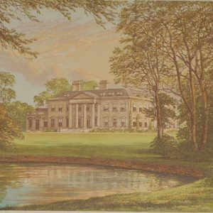 An antique colour print a chromolithograph from 1880 of  Broadlands in Hampshire.