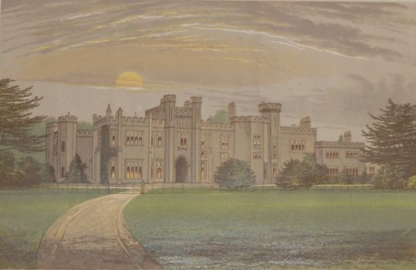 An antique colour print a chromolithograph from 1880 of  Garnstone Castle. It was designed by John Nash in 1807.