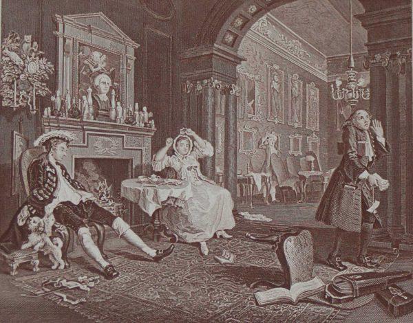 Antique William Hogarth Print circa 1880 Marriage a la Mode