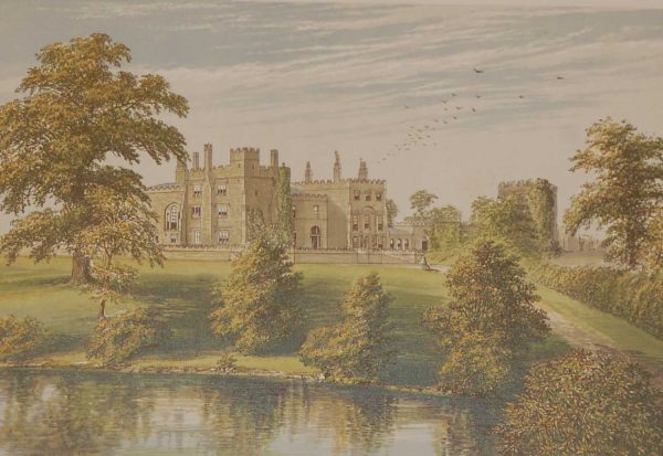 antique colour print a chromolithograph from 1880 of Ripley Castle in North Yorkshire