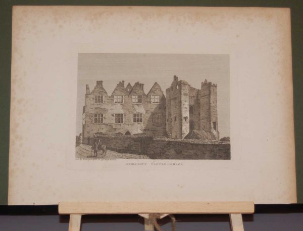 1797  antique print of Athlumney Castle in County Meath, Ireland. The structure was started in the 12th century with the castle dating from the 15th century.