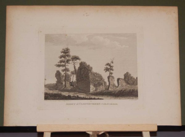 1797 Antique Print a copper plate engraving of the Abbey of Clonthuskert in County Roscommon, Ireland. Mac Dermot Roe rebuilt in 1385.