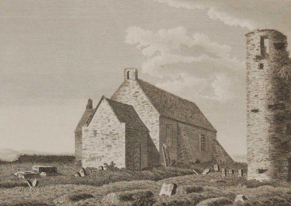 1797 Antique Print a copper plate engraving of Kilcullen Church in County Kildare, Ireland.