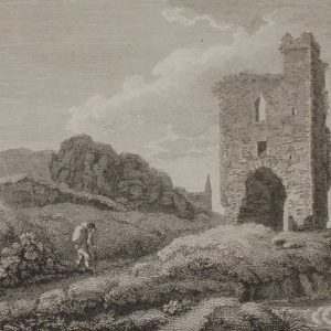 1797 Antique Print of Melifont Castle in County Louth, Ireland. There has been structure documented in Melifont since 1142.