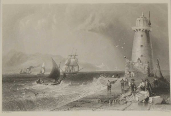 1878 engraving by J C Bentley after William Bartlett, Lighthouse , Dublin, Ireland