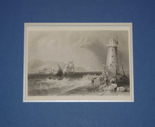 1878 Antique Steel Engraving Poolbeg Lighthouse Dublin, Ireland