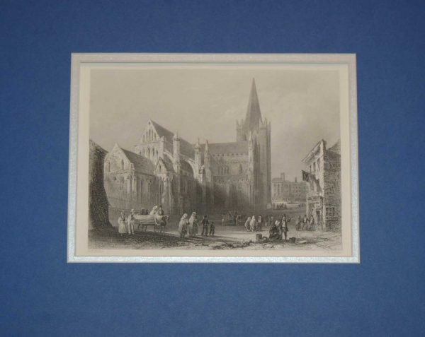 An antique steel engraving of St Patrick's Cathedral in Dublin. The print dates from 1871 and was published by Virtue and Co in London.