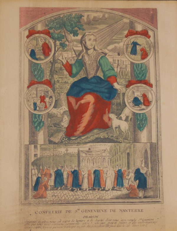 A vintage colour intaglio print done by Mourlot in 1944 after the original print from circa 1725 titled Confrerie de Ste Genevieve de Nanterre .