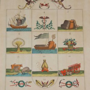 A vintage print, colour intaglio, done by Mourlot in 1944 after the original print from circa 1800 titled Jeu De l'Agriculture et du Commerce.